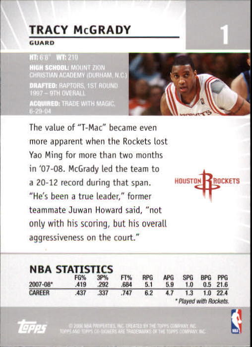 2008-09 Topps Co-Signers #1 Tracy McGrady back image