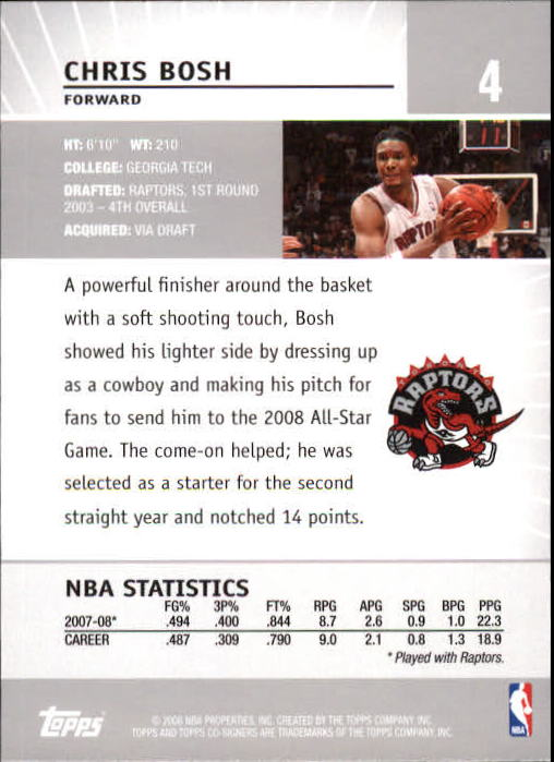 2008-09 Topps Co-Signers #4 Chris Bosh back image