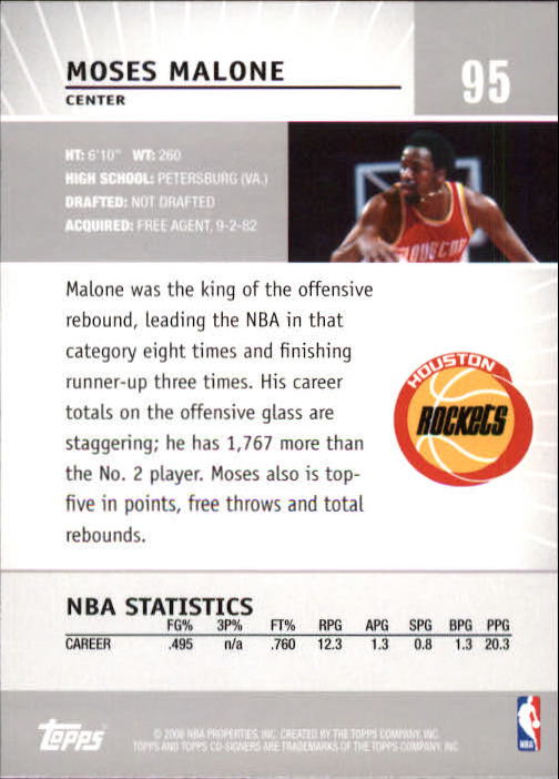2008-09 Topps Co-Signers #95 Moses Malone back image