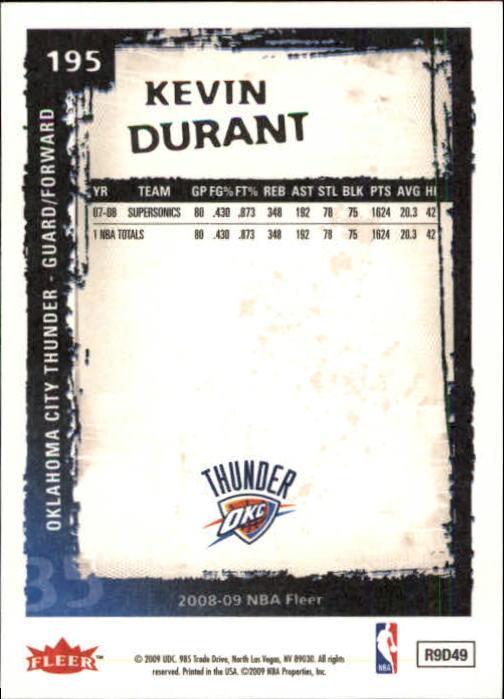 2008-09 Fleer #195 Kevin Durant back image