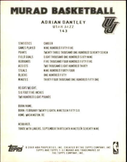 2008-09 Topps T51 Murad Mini #143 Adrian Dantley back image