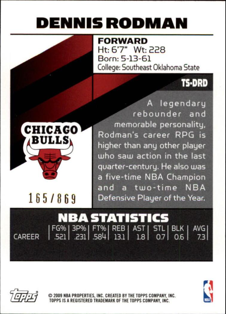 2008-09 Topps Signature Facsimile Red #TSDRD Dennis Rodman back image