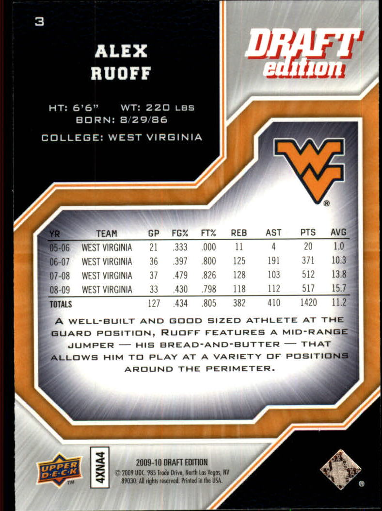 2009-10 Upper Deck Draft Edition #3 Alex Ruoff back image