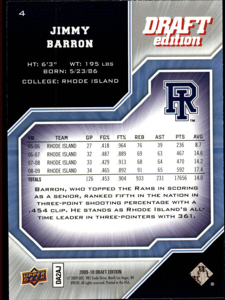 2009-10 Upper Deck Draft Edition #4 Jimmy Baron SP back image