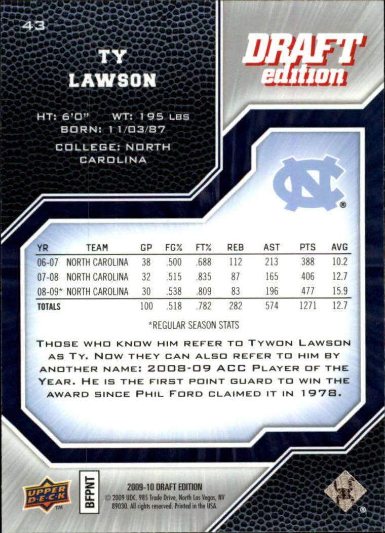 2009-10 Upper Deck Draft Edition #43 Ty Lawson SP back image