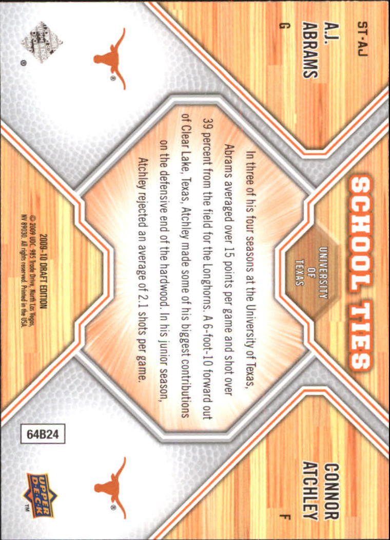 2009-10 Upper Deck Draft Edition School Ties #STAJ A.J. Abrams/Connor Atchley back image