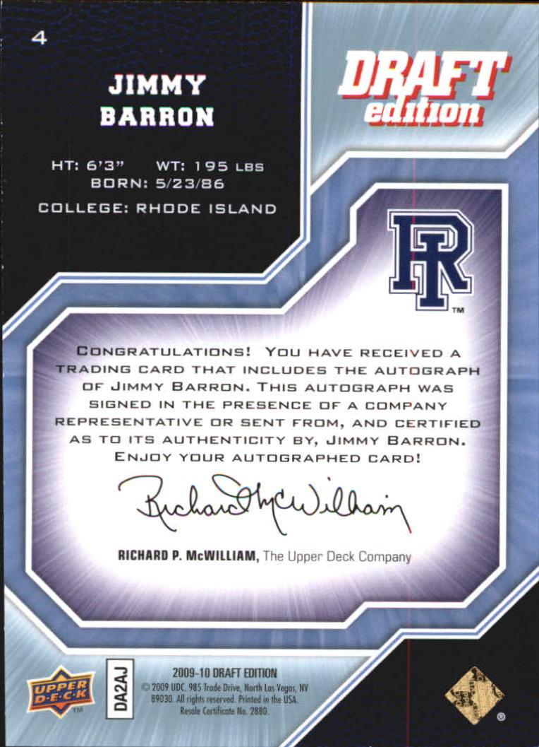 2009-10 Upper Deck Draft Edition Autographs #4 Jimmy Baron/999 back image