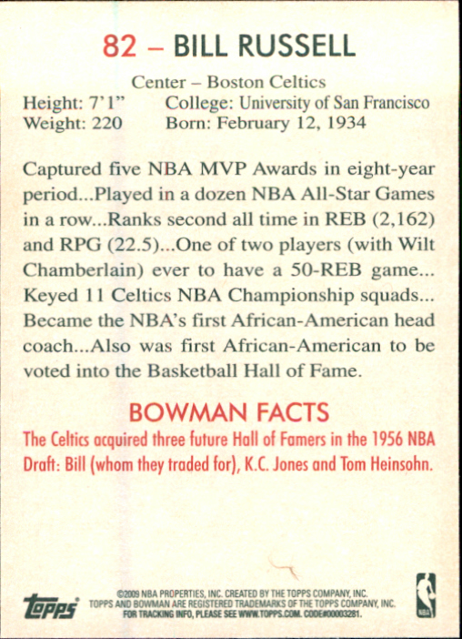 2009-10 Bowman 48 #82 Bill Russell back image