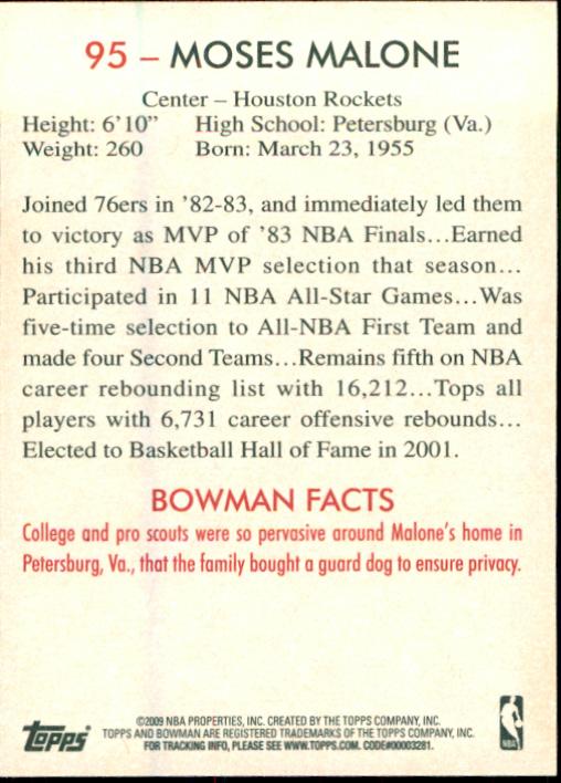 2009-10 Bowman 48 #95 Moses Malone back image