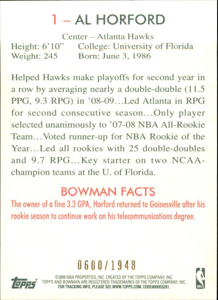 2009-10 Bowman 48 Blue #1 Al Horford back image
