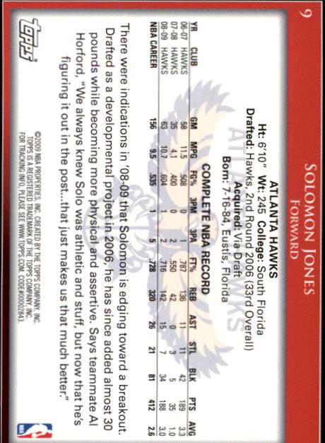 2009-10 Topps #9 Solomon Jones back image