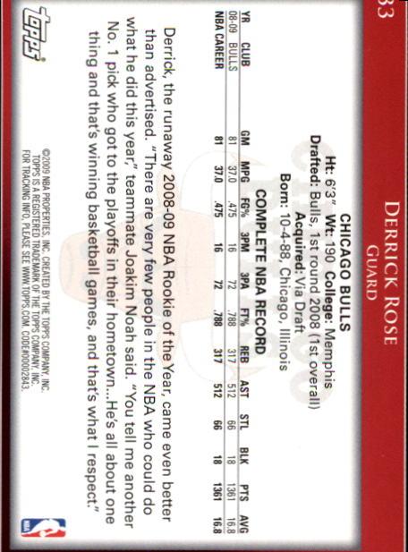 2009-10 Topps #33 Derrick Rose back image