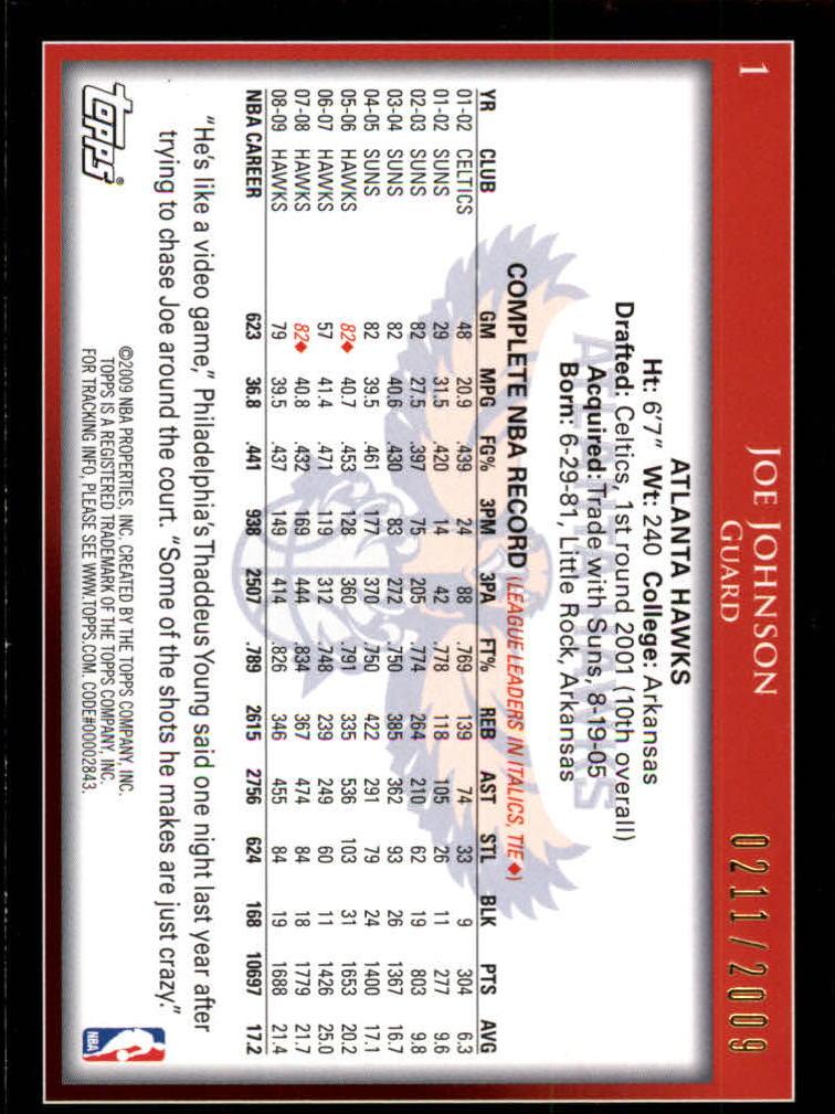 2009-10 Topps Gold #1 Joe Johnson back image
