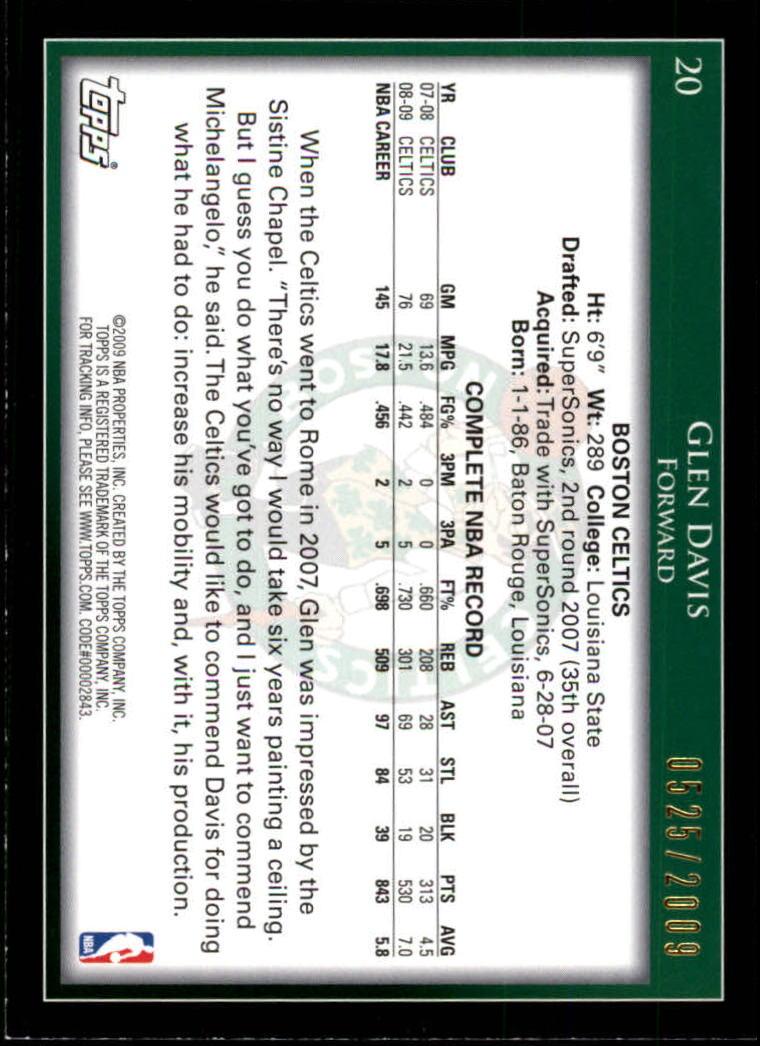 2009-10 Topps Gold #20 Glen Davis back image