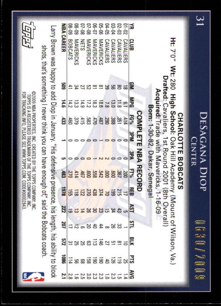 2009-10 Topps Gold #31 DeSagana Diop back image