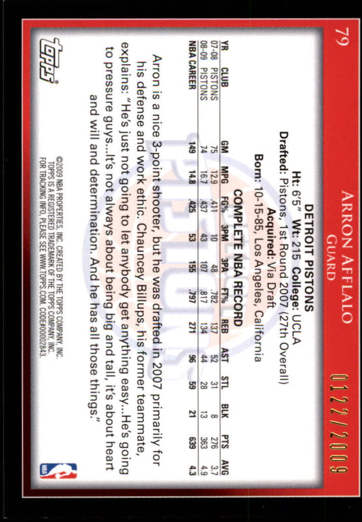 2009-10 Topps Gold #79 Arron Afflalo back image