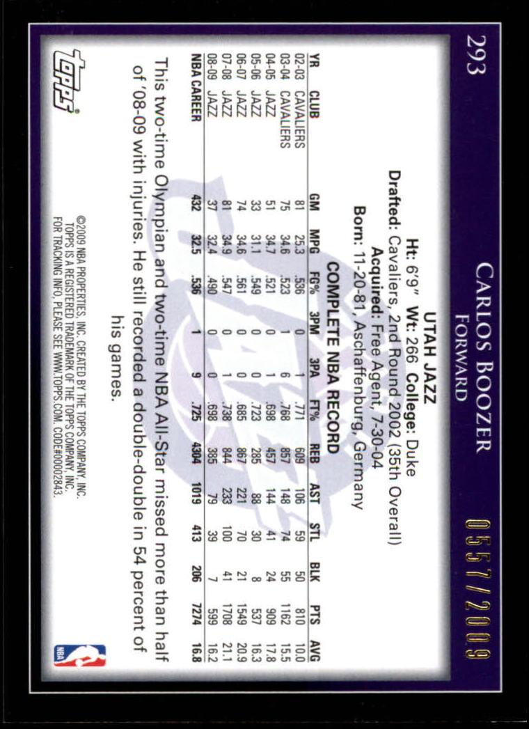 2009-10 Topps Gold #293 Carlos Boozer back image