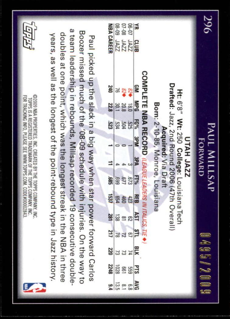 2009-10 Topps Gold #296 Paul Millsap back image