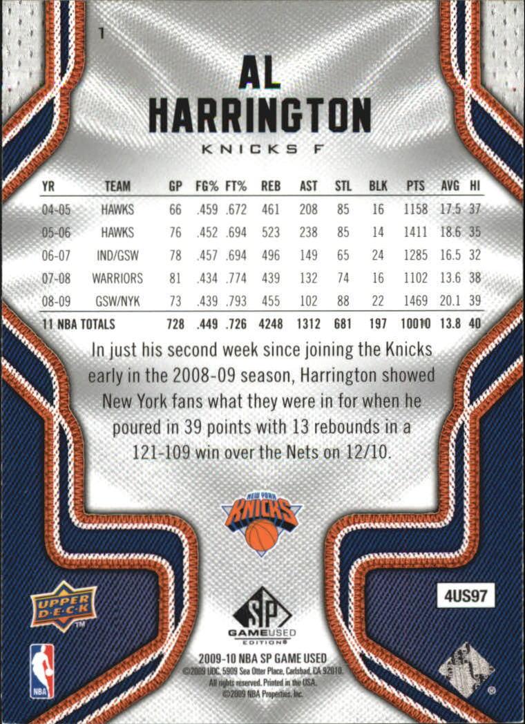 2009-10 SP Game Used #1 Al Harrington back image