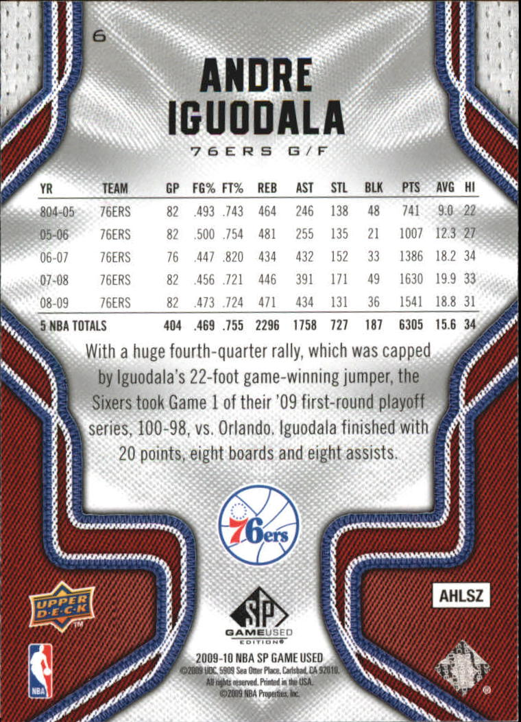 2009-10 SP Game Used #6 Andre Iguodala back image