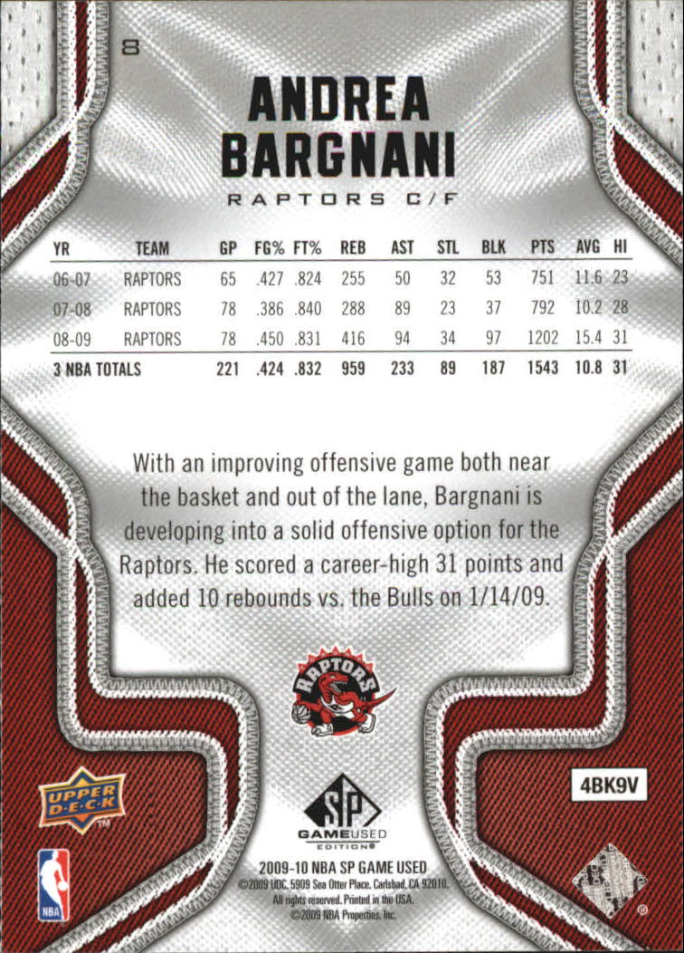 2009-10 SP Game Used #8 Andrea Bargnani back image