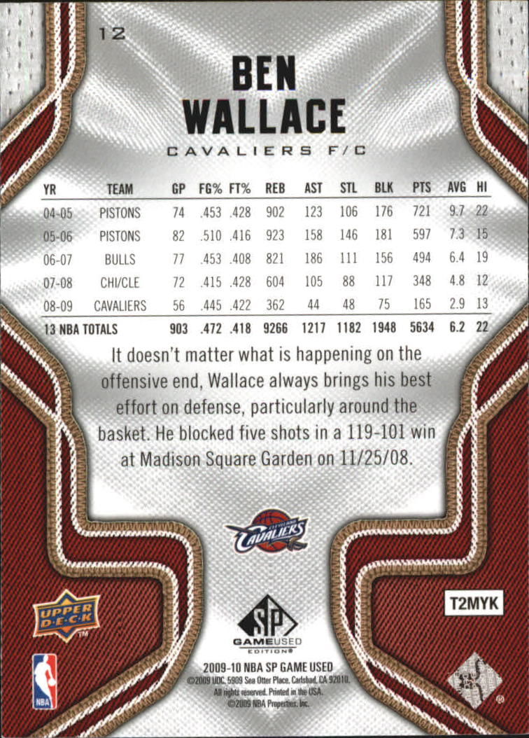 2009-10 SP Game Used #12 Ben Wallace back image
