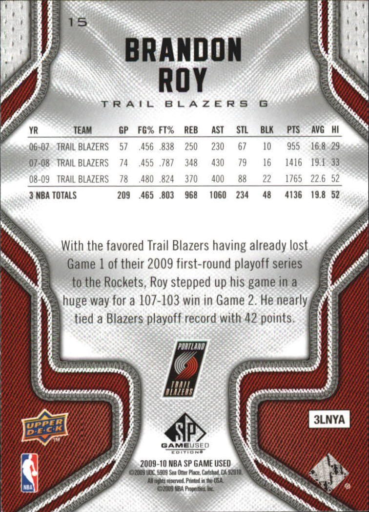 2009-10 SP Game Used #15 Brandon Roy back image