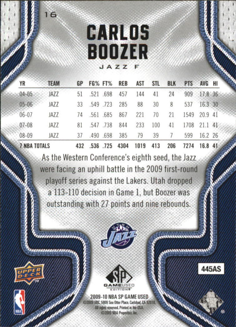 2009-10 SP Game Used #16 Carlos Boozer back image