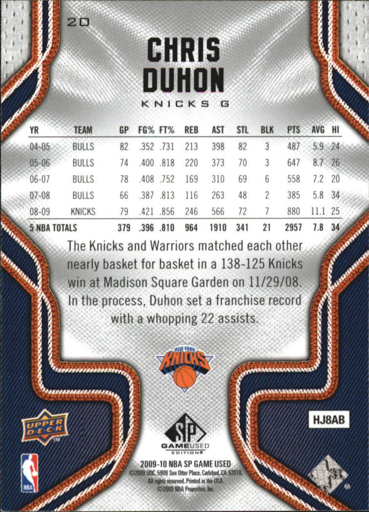 2009-10 SP Game Used #20 Chris Duhon back image
