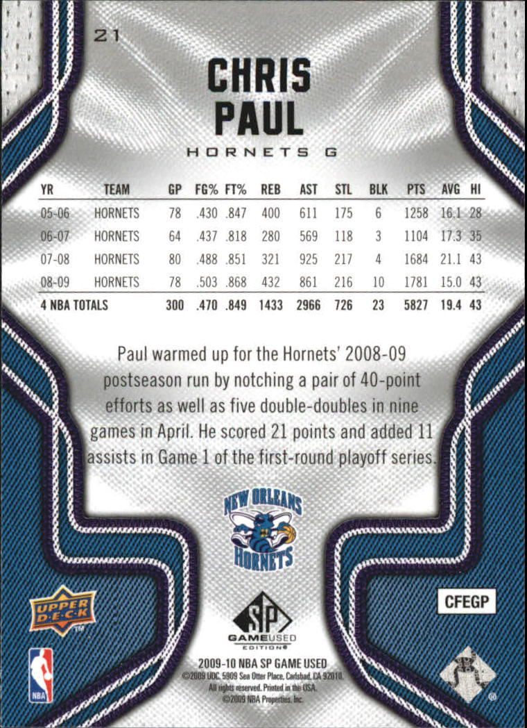 2009-10 SP Game Used #21 Chris Paul back image