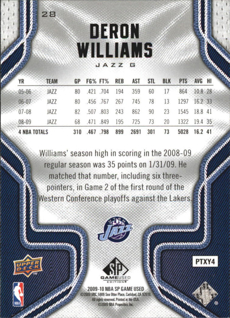 2009-10 SP Game Used #28 Deron Williams back image