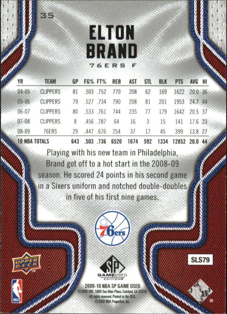 2009-10 SP Game Used #35 Elton Brand back image