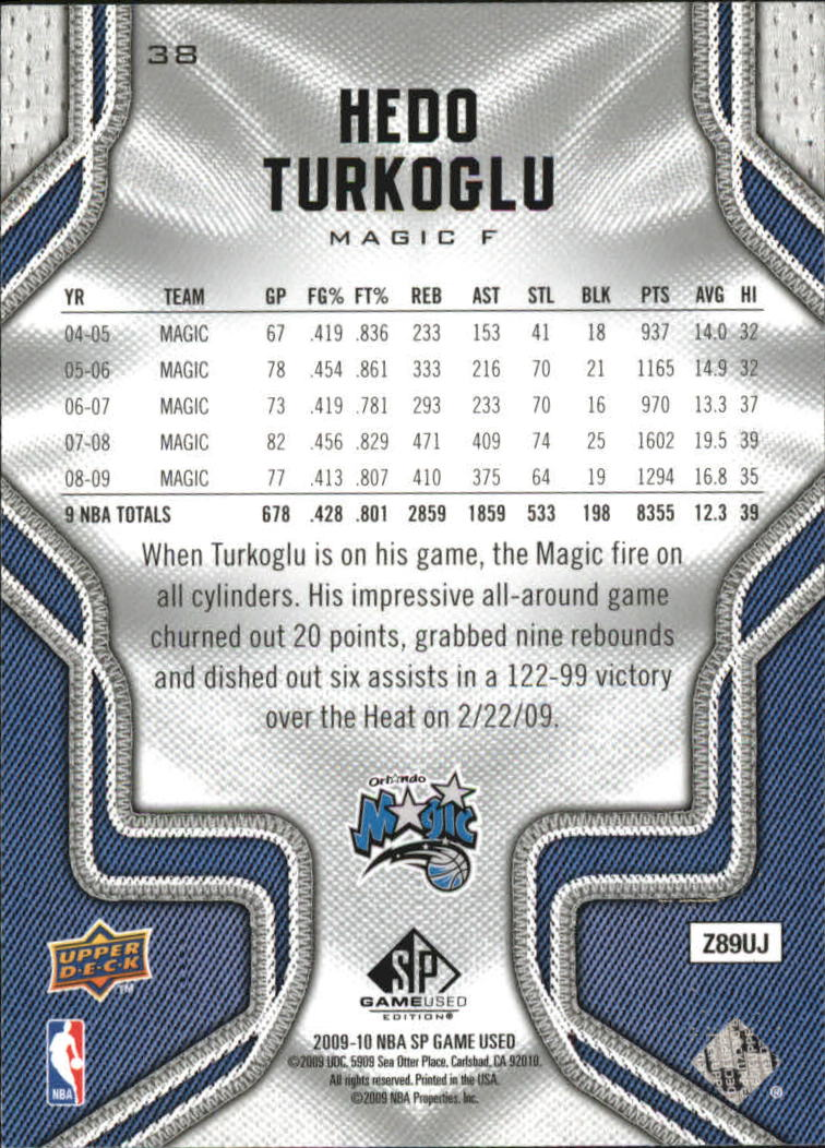 2009-10 SP Game Used #38 Hedo Turkoglu back image