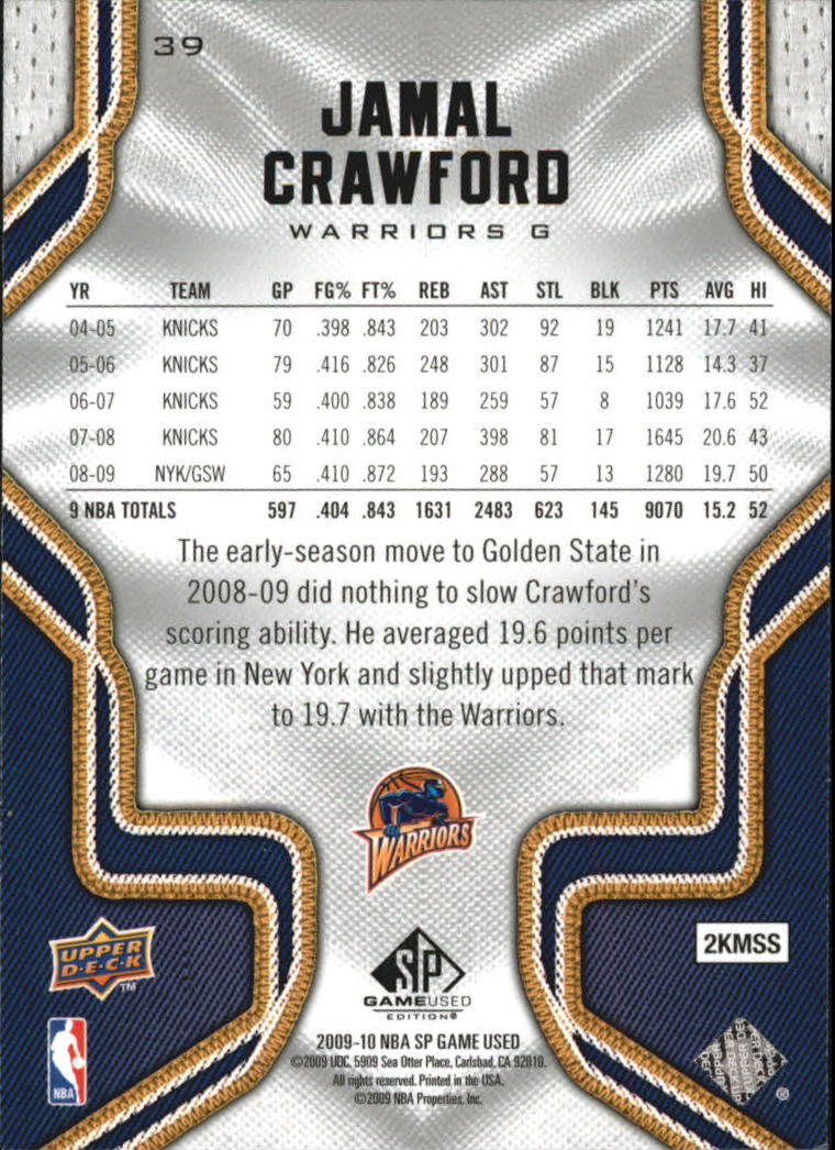 2009-10 SP Game Used #39 Jamal Crawford back image