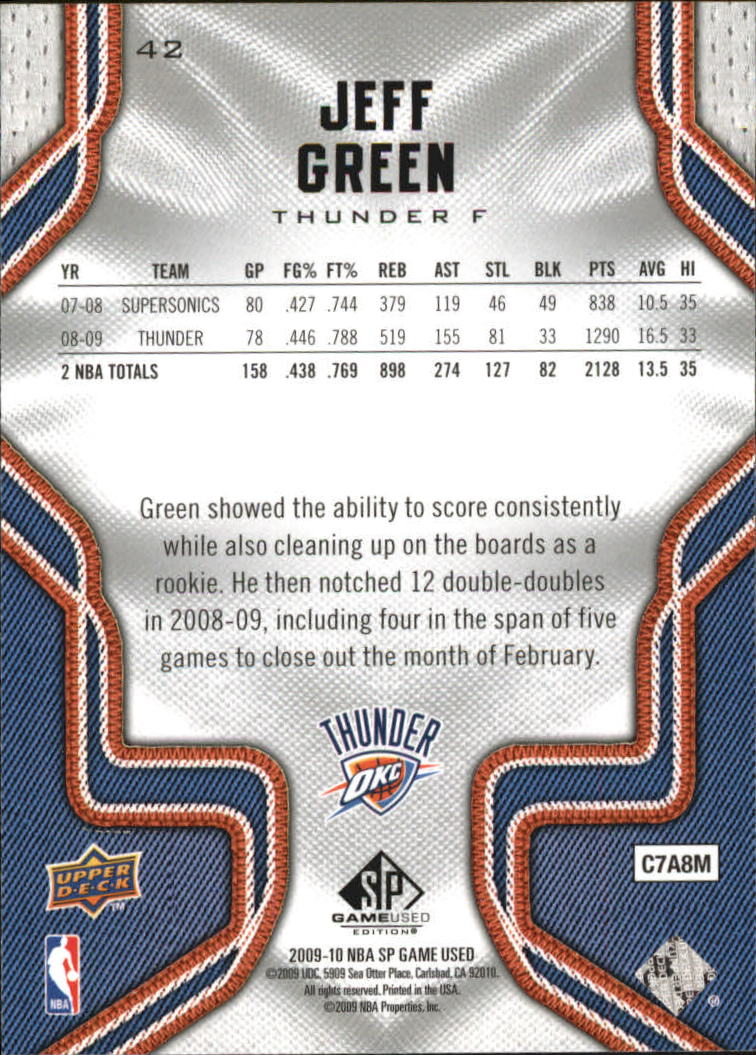2009-10 SP Game Used #42 Jeff Green back image