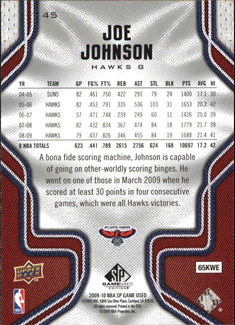 2009-10 SP Game Used #45 Joe Johnson back image
