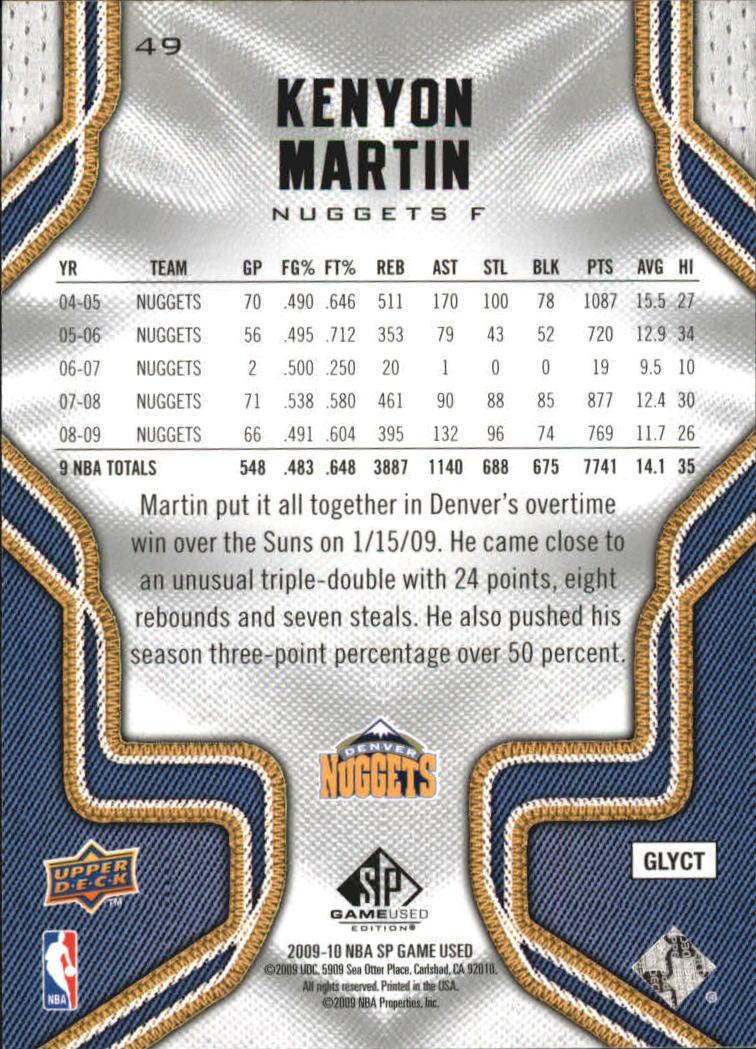 2009-10 SP Game Used #49 Kenyon Martin back image