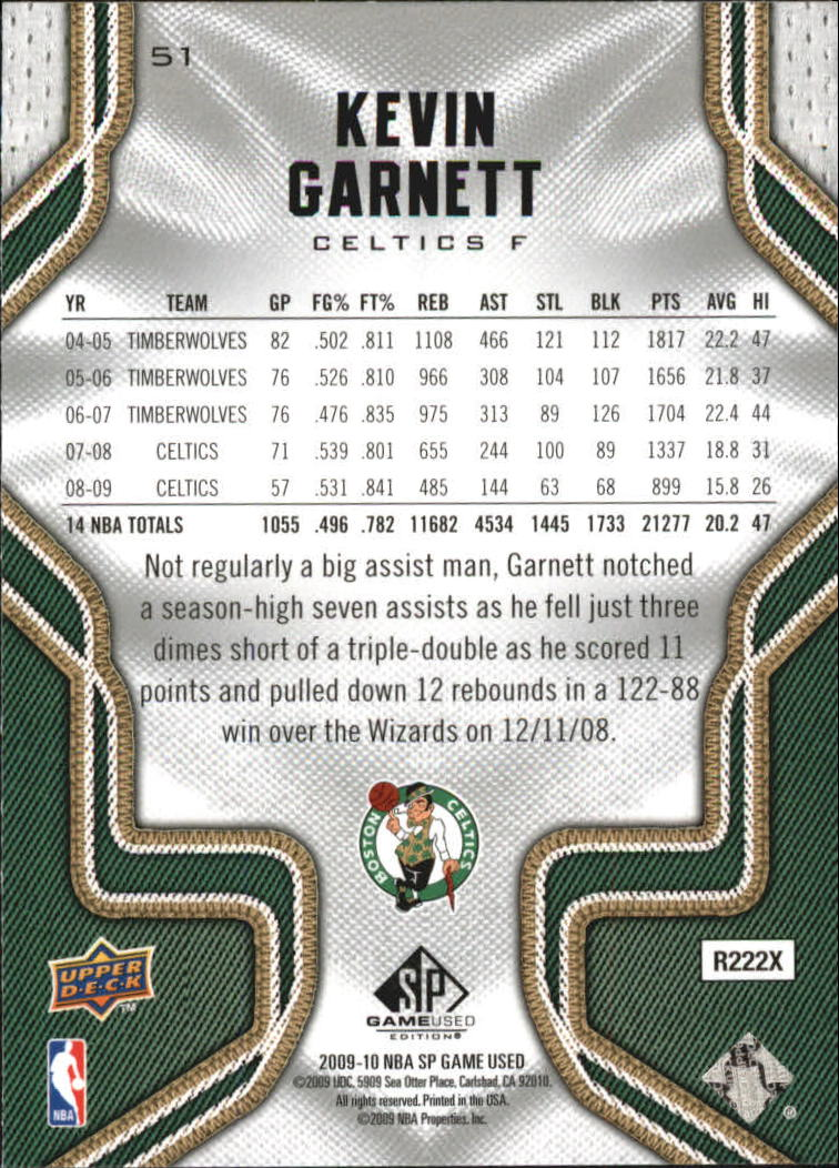 2009-10 SP Game Used #51 Kevin Garnett back image