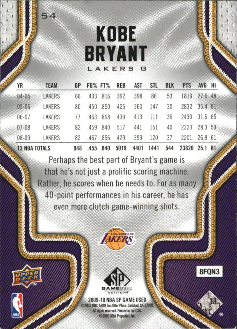 2009-10 SP Game Used #54 Kobe Bryant back image