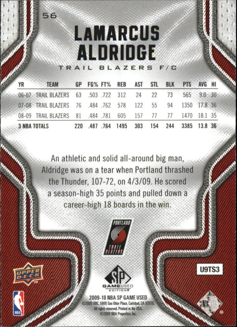 2009-10 SP Game Used #56 LaMarcus Aldridge back image