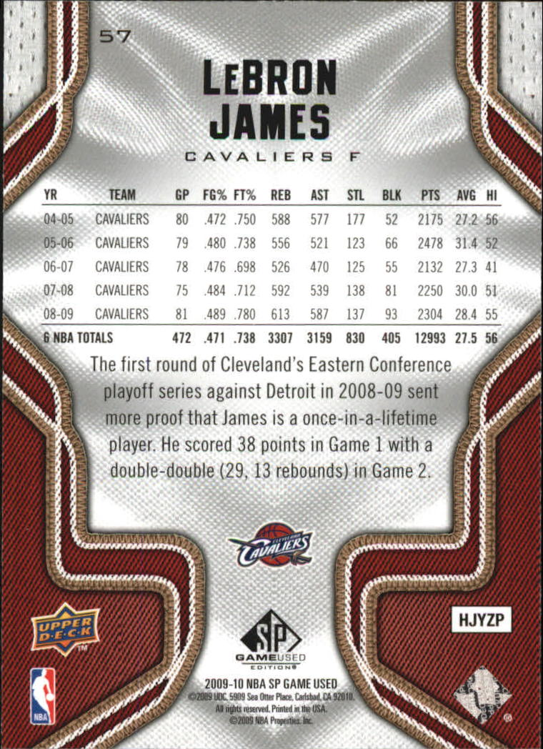 2009-10 SP Game Used #57 LeBron James back image