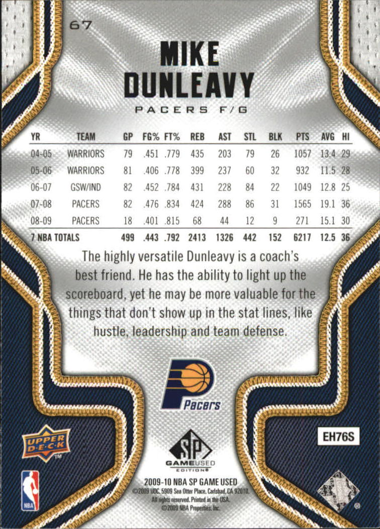 2009-10 SP Game Used #67 Mike Dunleavy back image