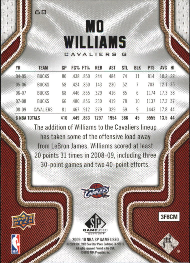 2009-10 SP Game Used #68 Mo Williams back image