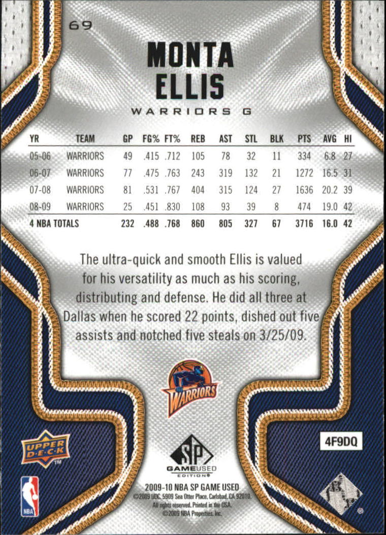 2009-10 SP Game Used #69 Monta Ellis back image