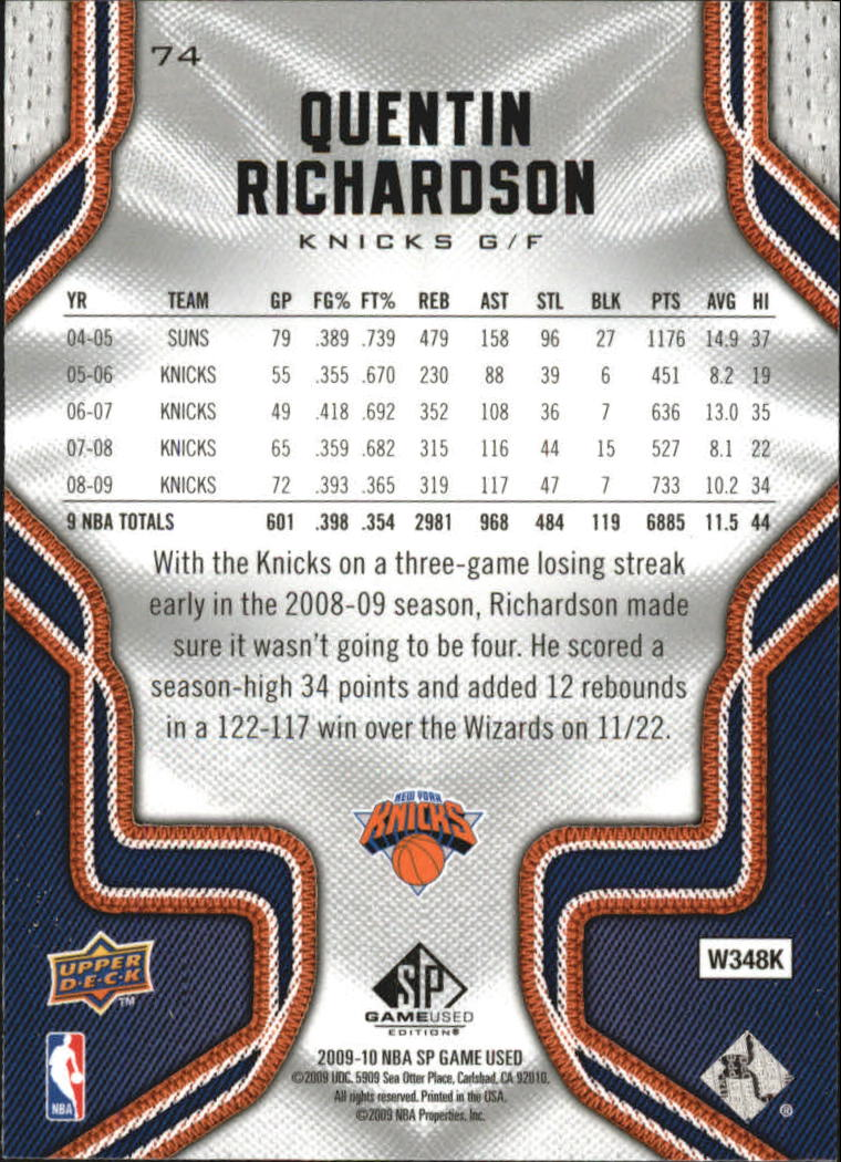 2009-10 SP Game Used #74 Quentin Richardson back image
