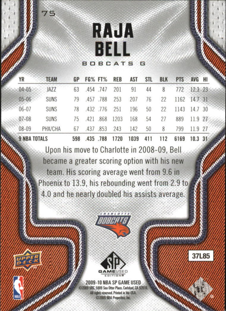 2009-10 SP Game Used #75 Raja Bell back image