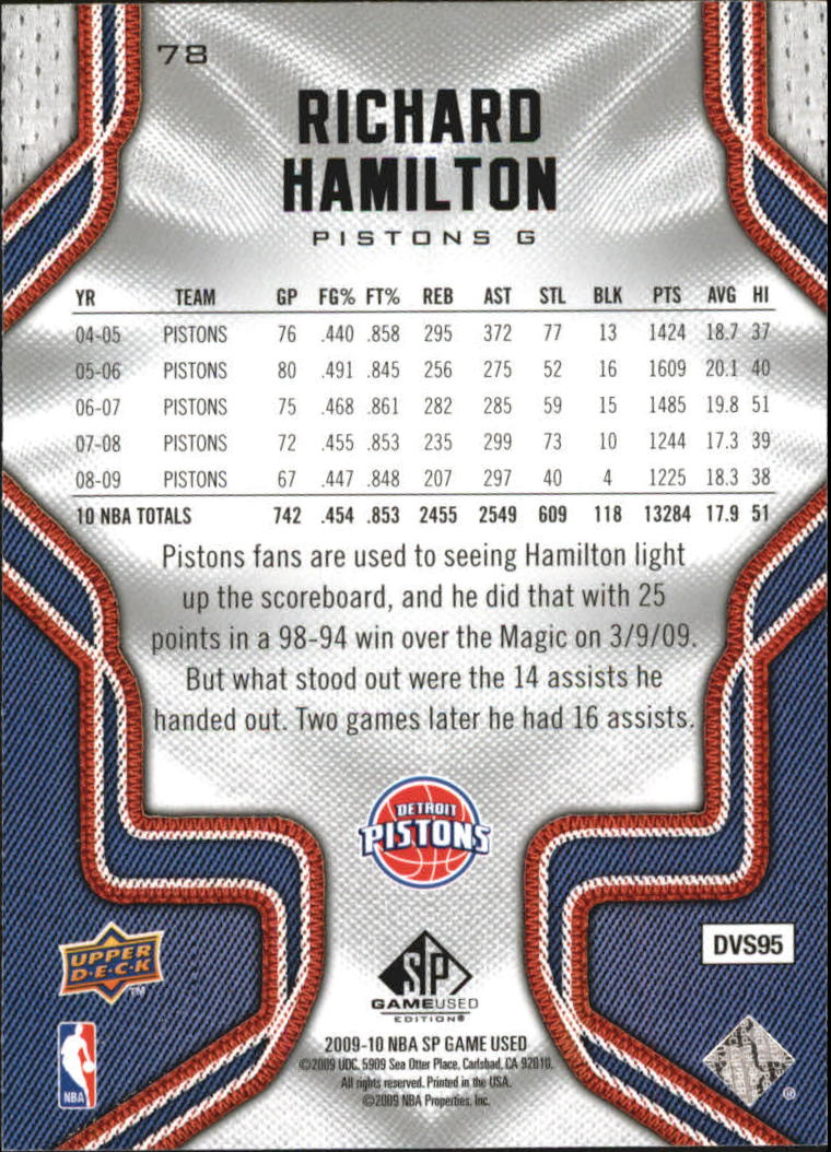 2009-10 SP Game Used #78 Richard Hamilton back image