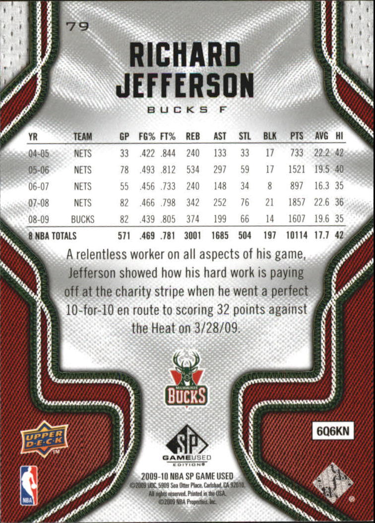 2009-10 SP Game Used #79 Richard Jefferson back image
