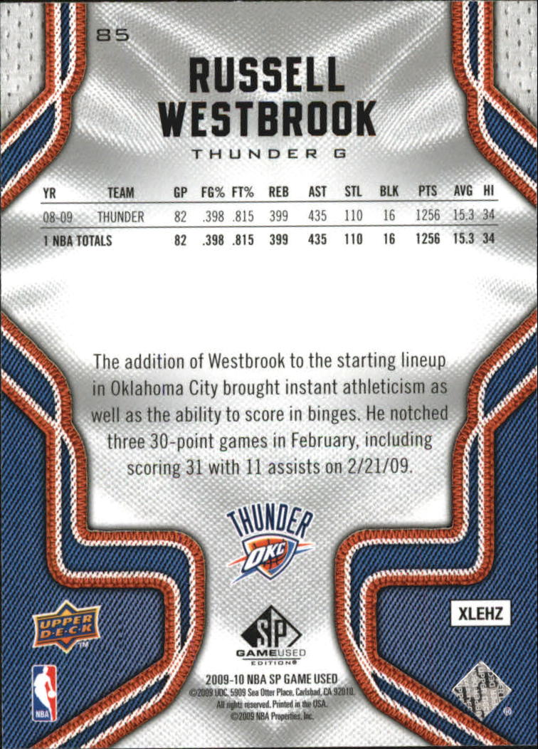 2009-10 SP Game Used #85 Russell Westbrook back image