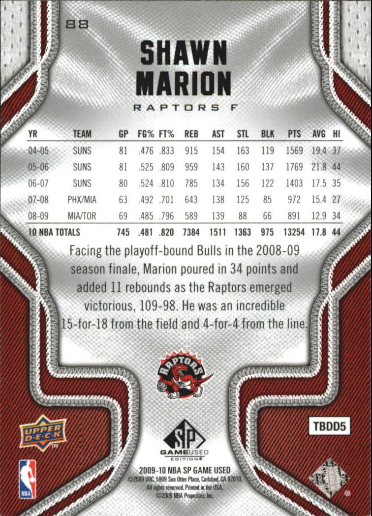2009-10 SP Game Used #88 Shawn Marion back image